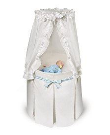 Empress Round Baby Bassinet With Canopy - White Bedding With Gingham Belts