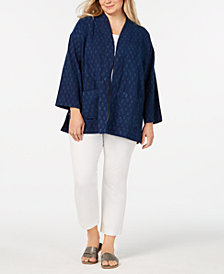 Eileen Fisher Plus Size Printed Open-Front Organic Cotton Jacket