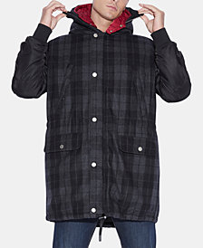 A|X Armani Exchange Men's Caban Check Hooded Coat