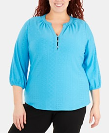 NY Collection Plus Size Embroidered Balloon-Sleeve Top