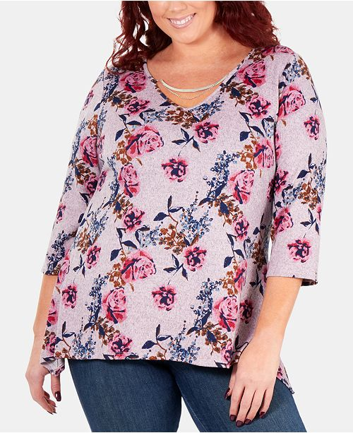 NY Collection Plus Size Printed 3/4-Sleeve Top