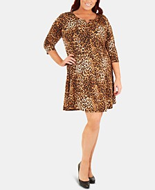 NY Collection Plus Size Printed 3/4-Sleeve Dress