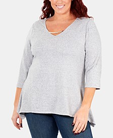 Plus Size Handkerchief-Hem 3/4-Sleeve Top