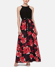 SL Fashions Halter Floral-Print Gown