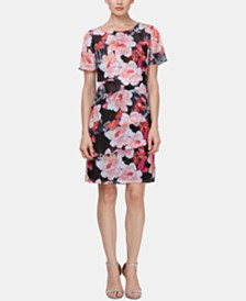 SL Fashions Tiered Floral-Print Sheath Dress