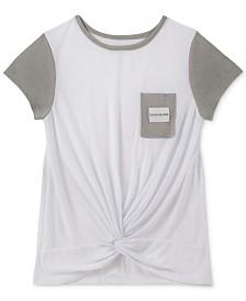 Calvin Klein Big Girls Colorblocked Twist-Front T-Shirt