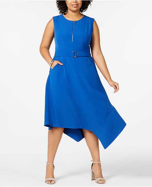 Taylor Plus Size Belted Asymmetric Fit & Flare Dress