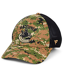 Authentic NHL Headwear Vancouver Canucks Military Appreciation Speed Flex Stretch Fitted Cap
