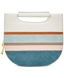 Fossil Hazel Striped Suede Crossbody Clutch