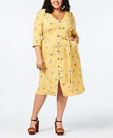 Monteau Trendy Plus Size Sash-Belt Printed Midi Dress
