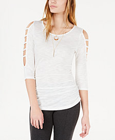 BCX Juniors' Ruched Cutout-Sleeved Top with Necklace