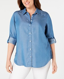 8ce3c4e57b984 Charter Club Plus Size Collared Denim Shirt