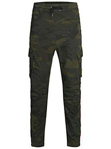 Jack & Jones Men's Striped Camp Cargo Jogger Pants