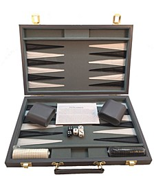 """18"""" Grey Vinyl Backgammon Set"""