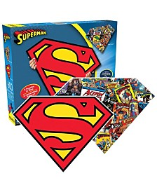 DC Comics - Superman Logo and Collage Double-Sided Shaped Jigsaw Puzzle - 600 Piece