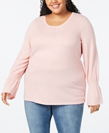 Style & Co Plus Size Smocked-Sleeve Top, Created for Macy's
