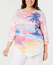 Alfred Dunner Plus Size Good to Go Palm-Tree Top