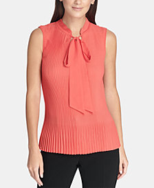 DKNY Pleated Tie-Neck Shell