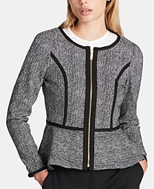 Petite Collarless Zip-Front Peplum Jacket