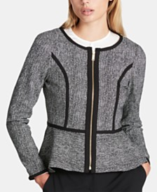 DKNY Petite Collarless Zip-Front Peplum Jacket