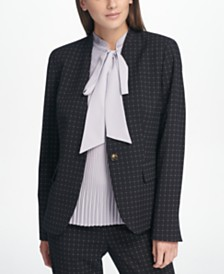 DKNY Collarless Windowpane-Print Blazer