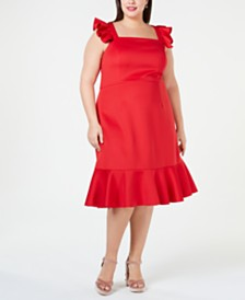 Betsey Johnson Plus Size Ruffled A-Line Dress