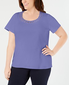 Karen Scott Plus Size Studded Scoop-Neck Top, Created for Macy's