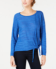 NY Collection Petite Tie-Front Marled Top