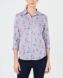 Karen Scott Petite Francesca Floral Button-Up Shirt, Created for Macy's
