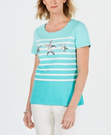 Karen Scott Cotton Striped Sequined-Starfish Top, Created for Macy's