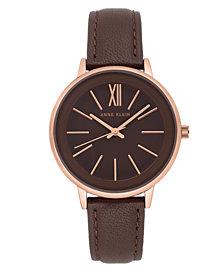 Anne Klein Women's Brown Leather Strap Watch 37mm