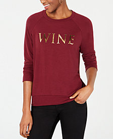 Carbon Copy Metallic Wine-Graphic Sweatshirt