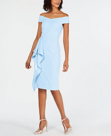 Vince Camuto Off-The-Shoulder Side-Ruffle Sheath Dress