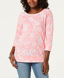 Karen Scott Floral-Print 3/4-Sleeve Top, Created for Macy's