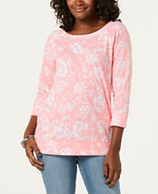 Karen Scott Floral-Print 3/4-Sleeve Top, Created for Macy's