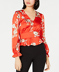 Bar III Smocked Floral-Print Top, Created for Macy's