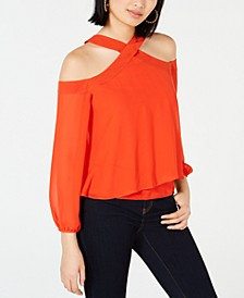 Cold-Shoulder Chiffon Overlay Mixed Media Top, Created for Macy's