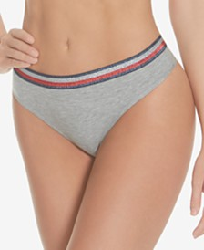 NEW! Tommy Hilfiger Women's Shimmer Band Ribbed Thong R11T054