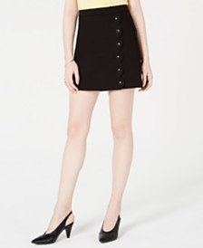 Maison Jules Scalloped Button-Detail Skirt, Created for Macy's