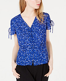 Maison Jules Printed Tie-Sleeve Blouse, Created for Macy's