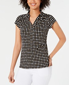 Charter Club Dot-Print Polo Top, Created for Macy's