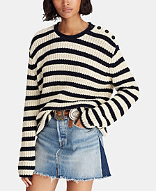 Polo Ralph Lauren Striped Roll-Neck Cotton Sweater