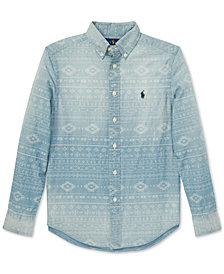 Polo Ralph Lauren Big Boys Southwestern Chambray Cotton Shirt
