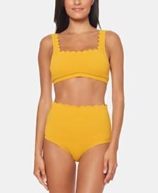 Jessica Simpson Scalloped Bikini Top & High-Waist Bottoms