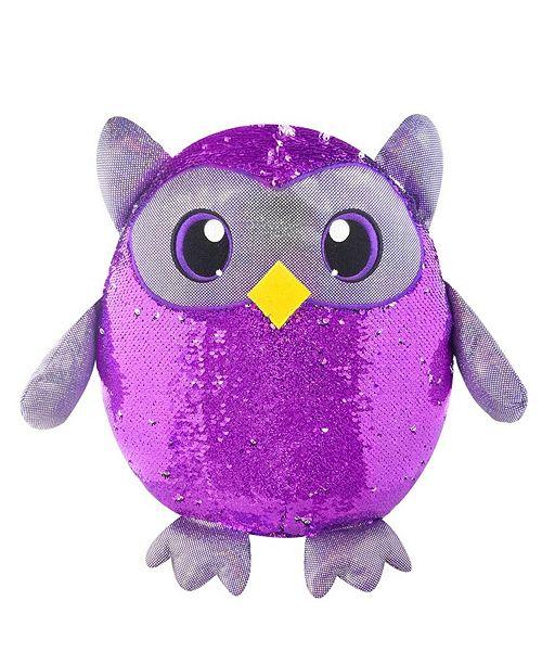 """Ben Franklin Toys Shimmeez 8"""" Oliver Owl, Sequin Plush Stuffed Animal"""