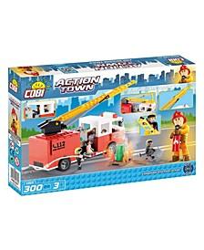 Action Town Fire Brigade Truck 300 Piece Construction Blocks Building Kit