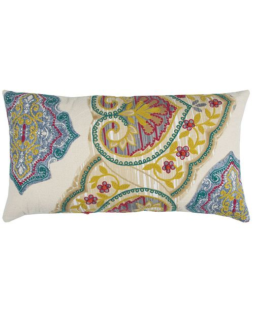 """Rizzy Home 14"""" x 26"""" Floral Down Filled Pillow"""