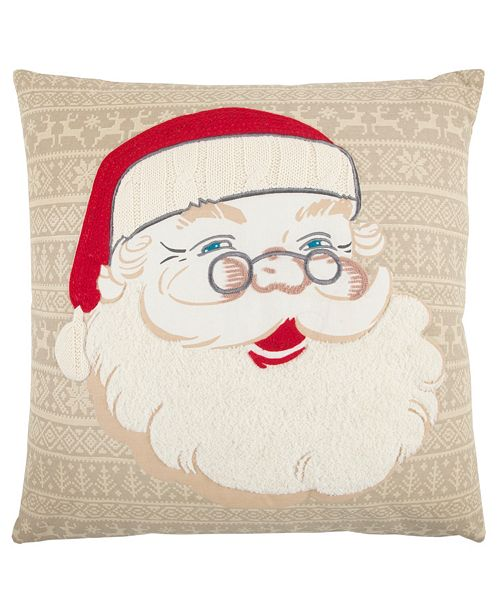 """Rizzy Home 20"""" x 20"""" Santa Clause Down Filled Pillow"""