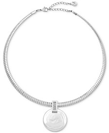 "Majorica Stainless Steel Pavé & Coin Pearl (30mm) Pendant Necklace, 14"" + 2"" extender"