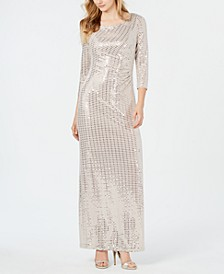 Petite Side-Ruched Shimmer Gown